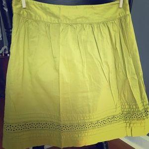 Ann Taylor Loft Avocado Green Midi Cotton Skirt